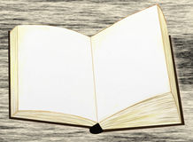 Blank bok på den gråa tabellen Royaltyfria Bilder