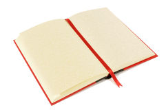 Red blank book with bookmark, open, blank pages, isolated on white background, copy space Royalty Free Stock Image