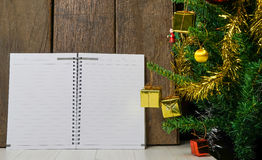 Blank Book on Christmas table. Blank note Book on Christmas table Stock Photo