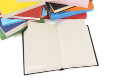 Blank book with collection of colorful books Stock Photo