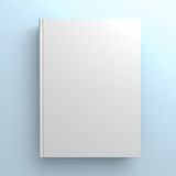Blank book cover on blue background