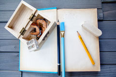 Blank Book with design tools stock image