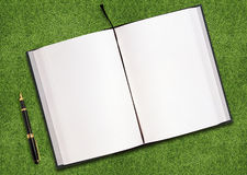 Blank book on grass. Blank opened book outdoors on the green grassland and pen Stock Images