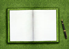 Blank book on grass. Blank opened book outdoors on the green grassland and pen Royalty Free Stock Images