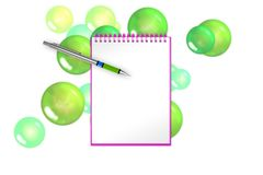 Blank book with green bubbles and spheres on background for greets adding. 3d illustration. Empty notepad with green bubbles and spheres  suitable for valentines Stock Photography