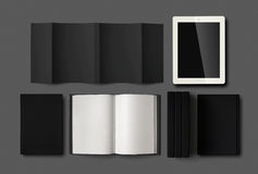 Blank book mockup on grey background. Royalty Free Stock Photography