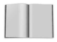 Blank book open. Blank open paper book with fan pages and shadow  on white background Stock Image