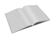 Blank book open. Blank open paper book with fan pages and shadow  on white background Stock Photos