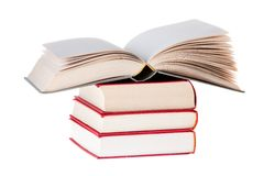 Blank Book open on tree red books Stock Image