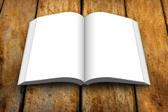 Blank Book Open Wooden Table Royalty Free Stock Image