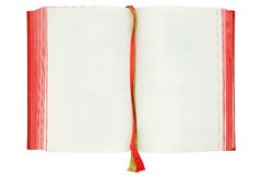 Blank Book Pages. Opened old book. Copy space for your own text. Isolated on a white background Stock Photo