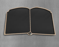 Blank book shape blackboard on wall Stock Photos