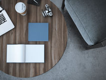 Blank book on the table. 3d rendering. Blank book on the wooden table. 3d rendering Stock Photos