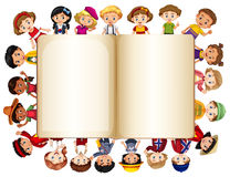 Blank book template with children on border Stock Photography