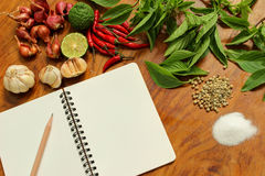 Blank book with Thai spicy ingredients Royalty Free Stock Images