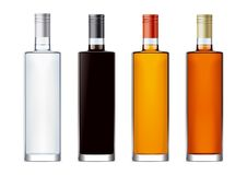 Blank bottles for alcohol drinks Stock Photos
