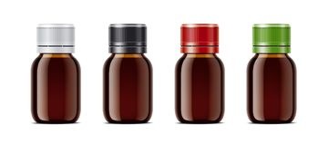 Blank bottles mockups for syrup or other pharmaceutical liquids. Stock Photo