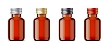 Blank bottles mockups for syrup or other pharmaceutical liquids. Royalty Free Stock Photos