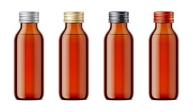 Blank bottles mockups for syrup or other pharmaceutical liquids. Stock Images