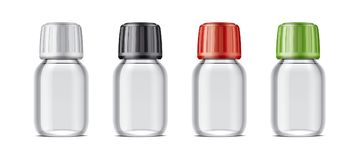 Blank bottles mockups for syrup or other pharmaceutical liquids. Stock Photos