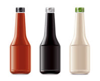 Blank bottles for sauces Stock Photo
