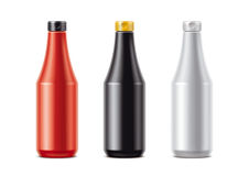 Blank bottles for sauces. Detailed illustration for your projects. lid color and bottles changes in one click in vector file Royalty Free Stock Image