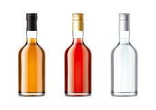 Blank bottles set of alcohol drink Stock Photo