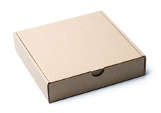 Blank box. A closed blank cardboard box isolated on white studio background Stock Photo