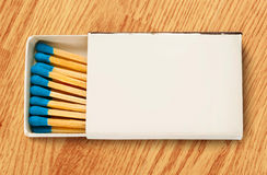 Blank box of blue matches Stock Photo