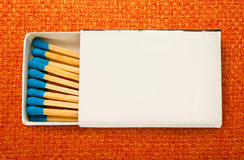 Blank box of blue matches Stock Images