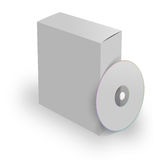 Blank Box CD. Blank 3d box and cd on the white background Royalty Free Stock Photo