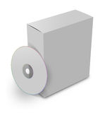 Blank box and cd. 3d blank box and cd or dvd disk Stock Images