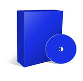 Blank box and cd. 3d illustration blank box and cd or dvd disk Royalty Free Stock Images