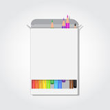 Blank box with colorful pencils Stock Photo