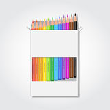 Blank box with pencils. Blank white box with 12 colorful rainbow pencils Royalty Free Stock Photography