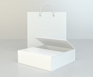 Blank box and shopping bag on a gray floor. 3d rendering Stock Photography
