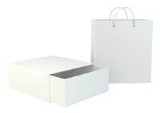 Blank box and shopping bag on a gray floor. 3d rendering.  Stock Photography