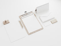 Blank branding elements mockup on white background. 3d rendering Royalty Free Stock Images