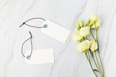 Blank branding tag mockup. Tags for price, gift, sale, address label with floral elements