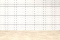Blank brick wall interior with ligt shadow from windows for design,3D illustration and rendering room Stock Images