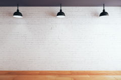 Blank brick wall in room. With wooden floor and ceiling with lamps. Mock up, 3D Rendering Stock Photos