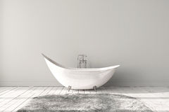Blank bright bathroom. With wooden floors, carpet and a large bathtub. Minimalistic loft bathroom mockup. 3d render high quality image royalty free stock image