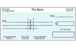 Blank British cheque Stock Photos