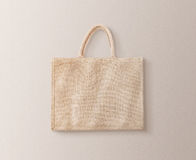 Blank brown cotton eco bag design mockup isolated, clipping path. Textile cloth customer bag mock up template. Tote shoe consumer reusable organic craft royalty free stock image