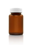 Blank brown glass supplement bottle isolated on white Stock Photo