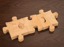Blank brown jigsaw puzzle Stock Photo