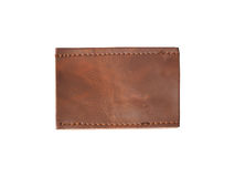 Blank brown leather jean label. Close up blank brown leather jean label, isolated Stock Image