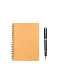 Blank brown notebook with pen isolated Stock Image