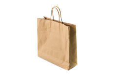 Blank brown paper bag isolated on white background Stock Image