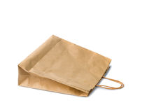 Blank brown paper bag isolated on white background Royalty Free Stock Images